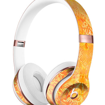 Orange Damask v2 Watercolor Pattern Full-Body Skin Kit for the Beats by Dre Solo 3 Wireless Headphones