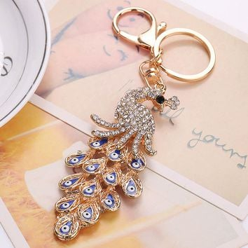 New 1PC Crystal Rhinestone Turkish Evil Eye Keychain Peacock Amulet Gold Color Keyring Key Holder