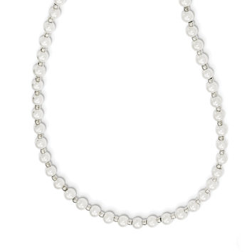 4-5mm White FW Cultured Pearl with Glass Bead Optic Chain QH5318