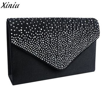 Clutch Bag Female Satin Diamante Handbag Vintage Chain Evening Clutch Wallet Party Envelope Phone Bag Bolsos Mujer @Y214