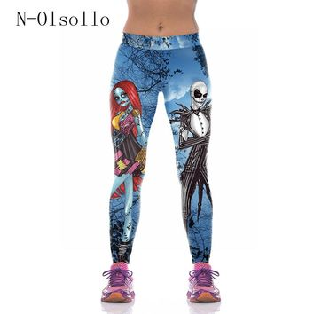Adventure Time Gothic 3D Before Christmas Jack Skellington Fitness Legging High Waist Sporting Pants Capris Gymnastics Clothing