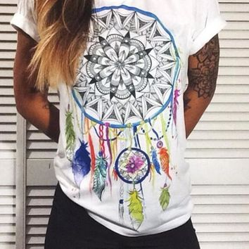 White Floral Round Neck Going out Casual T-Shirt
