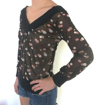Vintage Women's Fitted Double V-Neck Black Sheer Sweater With Circle And Dot Design S/M 70's or 80's