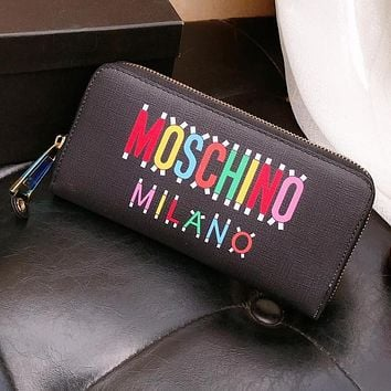 MOSCHINO Fashionable Women Men Leather Zipper Wallet Purse