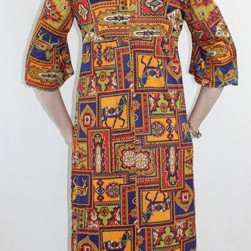 ViNtAgE 70's Ethnic HIPPIE DRESS Egyptian Paisley RARE Bell Sleeves Maxi - c1077