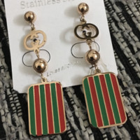 GUCCI  New Fashion Stripe Long section Earring Accessories Women Red Green Stripe
