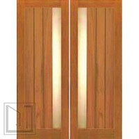 Double Door, Contemporary Grooved Panel with Insulated Matte Glass