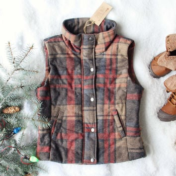 Rainier Plaid Vest in Gray
