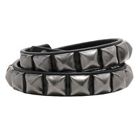 Black Single Row Pyramid Stud Cuff