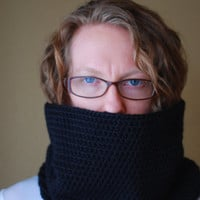 Hand Crochet Chunky Cowl Baby Alpaca - The Antero Cowl - Black - Ready To Ship