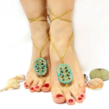 Barefoot sandal- Luxury-Golden, turquoise, blue beaded, chamois leather, Lurex rope, Anklet, Golden barefoot sandal, wedding barefoot sandal