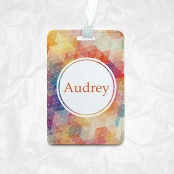 Kaleidoscope Personalized Luggage Tag, Monogram Travel Tag, Personalized Name Tag, Bag Tag, Best Travel Accessory, Travellers Gift