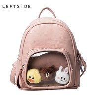 Girls Leather Backpack With Toy