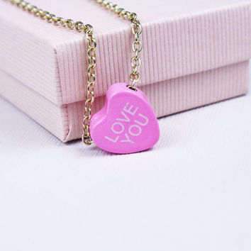 Vintage Conversation Heart Necklace LOVE YOU Valentine's