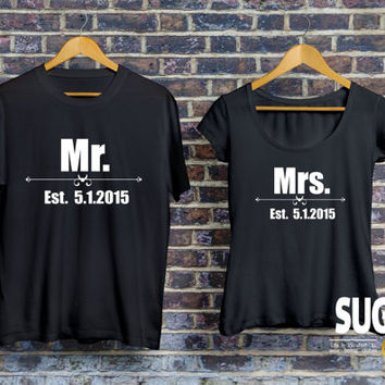MR and MRS love shirts, St Valentine t-shirts, t-shirts for couple, couple shirts, st valentine gift ideas, König Königin, Pärchen T-shirt