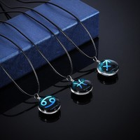 Stylish Jewelry Gift Shiny New Arrival Gemstone Hot Sale 12 constellations Accessory Innovative Couple Necklace [11192814740]