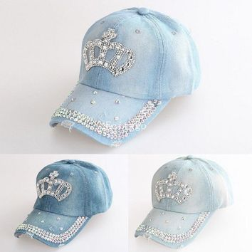Women Adjustable Rhinestone Diamante Crown Denim Sun Baseball Hat Cap Women Caps A1 Px14