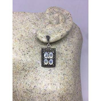 Vintage Real Marcasite and Genuine Mother of Pearl 925 Sterling Silver dangle earrings
