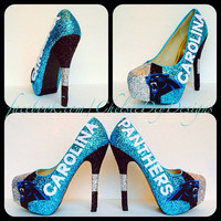 Carolina Panthers Glitter High Heels