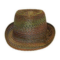 Boho Festival Straw Fedora Sun Hat in Olive, Brown and Rust Earth Tones