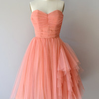 Mignonette dress • vintage 1950s dress • coral tulle 50s dress
