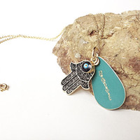 hamsa hand necklace - evil eye jewelry - hand stamped necklace turquoise gold