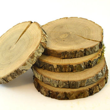 Oak Tree Wood Coasters for rustic wedding decors, home wooden decors,  endgrain wood slice, oak wood disc