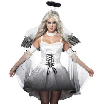 Halloween Costumes Zombie Stage Uniform with Wings    white