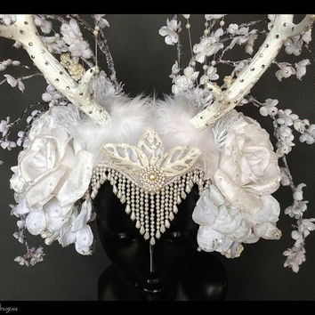 MADE TO ORDER Winter Wonderland Headdress with Faux Antlers