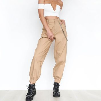 Women Harlan Long Trousers 2017 Spring And Autumn Casual Pants Casual Leisure Femme With Chain Female Regular WS4279Y