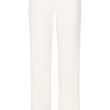 Jonathan Simkhai - Faux pearl-embellished cutout stretch-crepe wide-leg pants