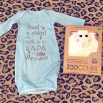 Baby Blue Hand- Picked for Earth by my Papa in heaven Gown