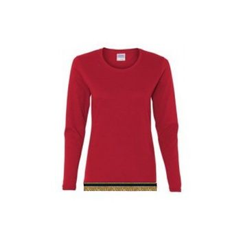 Women's Red Long Sleeve T-shirt With Fringes