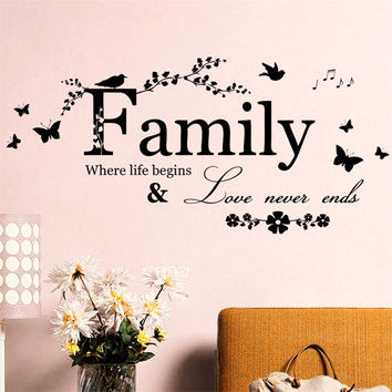 Family Love Never Ends warm quote home house wall decal stickers Flora Butterfly Bird music decoration mural hot sale words