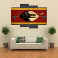 View Of Swaziland Grunge Flag Multi Panel Canvas Wall Art