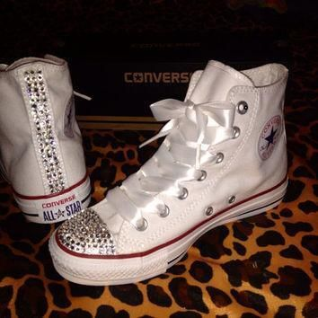 women s high top rhinestone converse with ribbon shoelaces