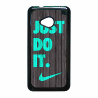 Nike Just Do It Wood Colored Darkwood Wooden Fdl HTC One M7 Case