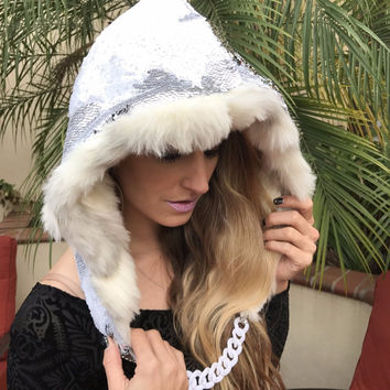 Snow Leopard Sequin Assassin Fur Rave Hood