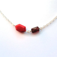 Geometric red necklace, genuine gemstone necklace, petite geo necklace, small red jewelry, tiny garnet necklace, sterling silver handmade