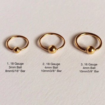 "Gold Ball(3mm,4mm) Captive Bead Ring(8mm5/16"",10mm3/8"") Ear,Nose,Septum Piercing 18,16 Gauge(EPC-74),Surgical Steel, Single Earring"