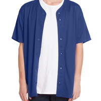 PREMIUM Mens Full Button Down Mesh Short Sleeve Baseball Jersey