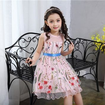 Fashion Summer Flower Dresses Clothes Girl Princess Costumes Party Embroidery Vest Dress Knee Length With Ribbon Belt