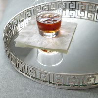 INTERLUDE - Silvery Greek-Key Tray - Horchow