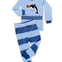 "Leveret Little Boy ""Jumping Dolphin"" 2 Piece Pajama 100% Cotton (6M-7-8 Years)"