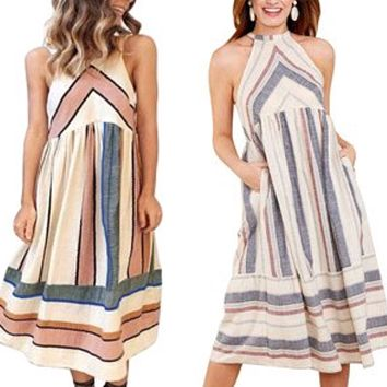 Halter Neck Striped Midi Dress with Pockets, US Sizes 4 - 16 (Small - XLarge)
