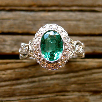 Oval Green Emerald Engagement Ring in 14K White Gold with Leaf Vine Motif and Diamonds Size 6.75