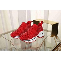 Christian Louboutin CL Spike Sock Donna Flat Red Sneakers
