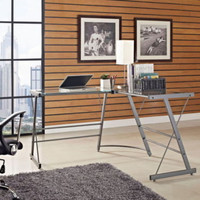 Contemporary L-Shaped Desk Spacious Glass Top Home Office Furniture Grey Finish