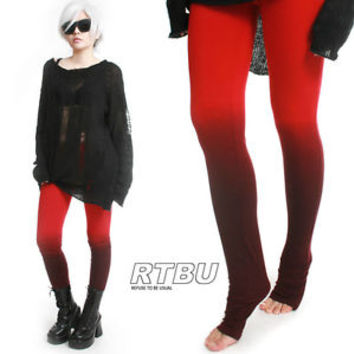 Unisex Ultra Long Gathered Punk Rocker Dip Dye Smoke Red Ombre Ruched Legging