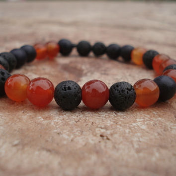 Lava Stone Bracelet with Black Wood and Carnelian, For Him